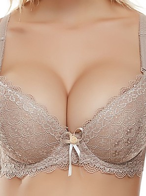 cheap Bras-Women's Push-up Lace Bras Underwire Bra 3/4 Cup Bra Bowknot Wine White Black