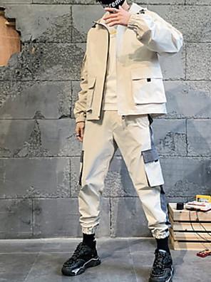 お買い得  メンズTシャツ&タンクトップ-ヒップホップコートパターン/プリントメンズパフォーマンスデイリーウェア長袖ポリ