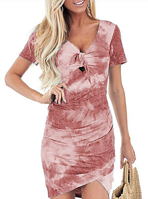 cheap Women's Dresses-Women's Sheath Dress - Short Sleeves Print Tie Dye Summer V Neck Elegant Sexy Slim 2020 Wine Blue Purple Khaki Green Gray S M L XL XXL XXXL XXXXL XXXXXL