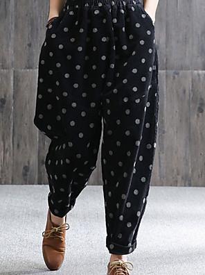 cheap Women's Pants-Women's Basic Loose Chinos Pants - Polka Dot Black Brown M / L / XL