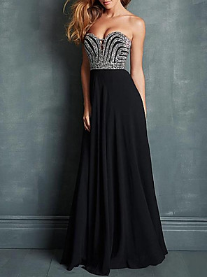 cheap Evening Dresses-A-Line Sparkle Engagement Formal Evening Dress Sweetheart Neckline Sleeveless Sweep / Brush Train Chiffon with Pleats Beading 2020