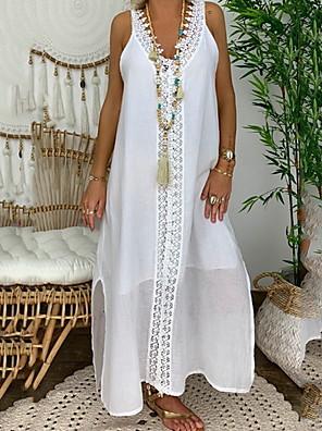 cheap For Young Women-Women's Shift Dress - Sleeveless Solid Color Summer Elegant 2020 White Black Blushing Pink Light Blue S M L XL XXL XXXL