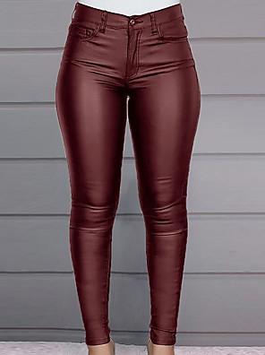 cheap Women's Pants-Women's Basic Slim PU Chinos Pants - Solid Colored Wine Black S / M / L