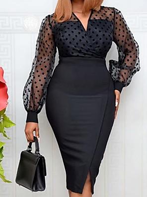 cheap Mini Dresses-Women's Sheath Dress Knee Length Dress - Long Sleeve Polka Dot Solid Color Split Patchwork Summer Casual Elegant Party Holiday 2020 Black S M L XL XXL