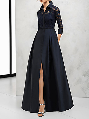 cheap Evening Dresses-A-Line Elegant Cut Out Wedding Guest Formal Evening Dress V Neck 3/4 Length Sleeve Floor Length Satin with Split Lace Insert 2020