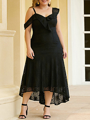 cheap Plus Size Dresses-Sheath / Column Elegant Plus Size Party Wear Wedding Guest Dress Spaghetti Strap Sleeveless Ankle Length Lace with Ruffles Lace Insert 2020