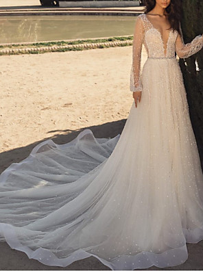 cheap Prom Dresses-A-Line Wedding Dresses Plunging Neck Sweep / Brush Train Tulle Long Sleeve Beach Sexy See-Through with Crystals Embroidery 2020