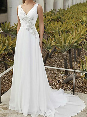 cheap Wedding Dresses-A-Line Wedding Dresses V Neck Sweep / Brush Train Chiffon Sleeveless Romantic with Ruched Appliques 2020