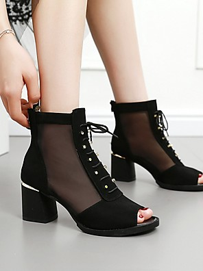 cheap Summer Dresses-Women's Sandals Summer Chunky Heel Open Toe Daily Suede White / Black