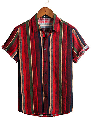 cheap Beach Towel-Men's Striped Shirt - Cotton Tropical Hawaiian Holiday Beach Classic Collar Button Down Collar Red / Short Sleeve