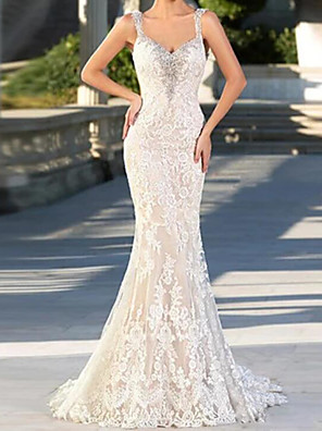 cheap Wedding Dresses-Mermaid / Trumpet Wedding Dresses V Neck Spaghetti Strap Sweep / Brush Train Lace Tulle Sleeveless Sexy with Embroidery 2020