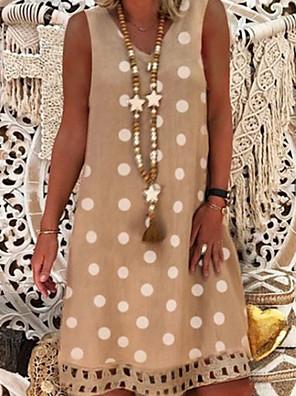 cheap Summer Dresses-Women's A-Line Dress Knee Length Dress - Sleeveless Polka Dot Summer Casual 2020 Black Purple Red Yellow Army Green Orange Khaki Light Green Gray Light Blue S M L XL XXL XXXL XXXXL XXXXXL