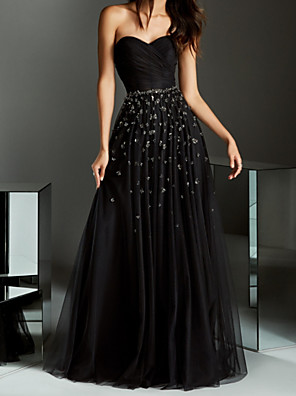 cheap Prom Dresses-A-Line Minimalist Black Party Wear Prom Dress Strapless Sleeveless Floor Length Chiffon with Pleats Beading 2020
