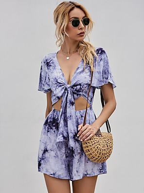 cheap Mini Dresses-Women's Sundress Short Mini Dress - Short Sleeves Tie Dye Summer Street chic 2020 Purple S M L XL
