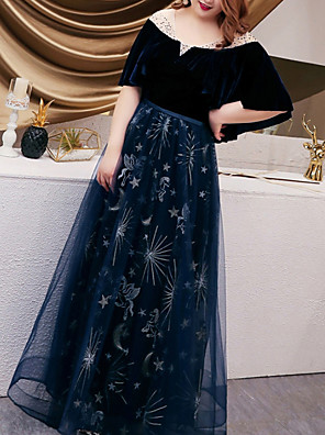 cheap Prom Dresses-A-Line Plus Size Blue Wedding Guest Prom Dress Illusion Neck Half Sleeve Floor Length Tulle with Embroidery 2020