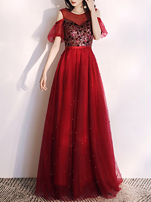 cheap Prom Dresses-A-Line Glittering Red Engagement Formal Evening Dress Illusion Neck Short Sleeve Floor Length Tulle with Sequin 2020