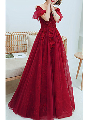 cheap Evening Dresses-A-Line Luxurious Red Engagement Formal Evening Dress Off Shoulder Short Sleeve Floor Length Tulle with Sequin 2020