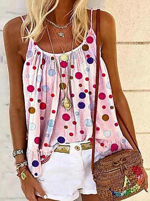 cheap Women's Blouses & Shirts-Women's Blouse Polka Dot Tops Strap White Purple Blushing Pink / Sleeveless