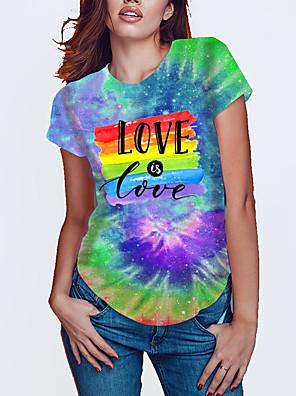 cheap Party Dresses-Women's Plus Size Tie Dye Rainbow Pride Day Print Loose T-shirt Basic Rainbow