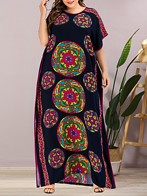 cheap Plus Size Dresses-Women's Plus Size Maxi Shift Dress - Short Sleeves Geometric Split Summer Casual Elegant Daily Going out Loose 2020 Rainbow One-Size