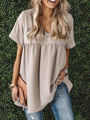 cheap Women's Blouses & Shirts-Women's A-Line Dress Short Mini Dress - Short Sleeves Solid Color Summer Casual Mumu 2020 Wine White Black Yellow Khaki Light Blue S M L XL XXL XXXL XXXXL XXXXXL