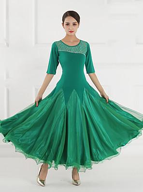 cheap Prom Dresses-Ballroom Dance Dress Split Joint Crystals / Rhinestones Women's Training Performance Half Sleeve Stretch Yarn Lycra