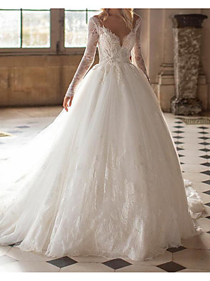 cheap Wedding Dresses-Ball Gown Wedding Dresses Jewel Neck Court Train Lace Tulle Long Sleeve Formal See-Through with Embroidery 2020