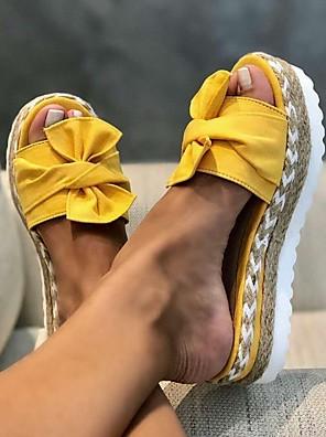 cheap Smart Watches-Women's Slippers & Flip-Flops Summer Flat Heel Open Toe Daily PU White / Black / Yellow