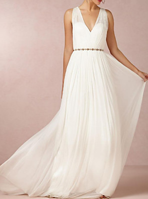 cheap Prom Dresses-A-Line Wedding Dresses V Neck Sweep / Brush Train Chiffon Over Satin Sleeveless Simple Beach Elegant with Sashes / Ribbons 2020