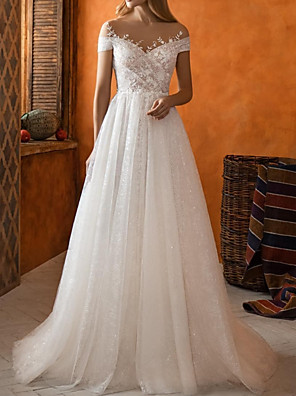 cheap Wedding Dresses-A-Line Wedding Dresses Jewel Neck Sweep / Brush Train Lace Tulle Short Sleeve Country with Appliques 2020