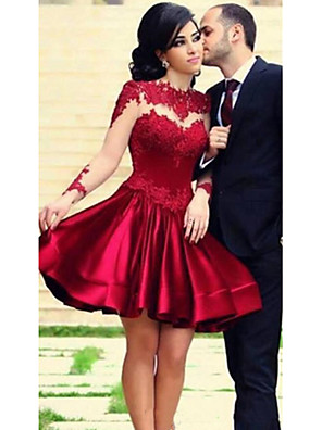 cheap Cocktail Dresses-A-Line Hot Red Cocktail Party Prom Dress Jewel Neck Long Sleeve Short / Mini Lace Stretch Satin with Pleats Appliques 2020