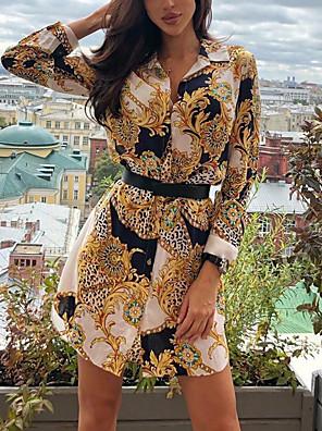 cheap Summer Dresses-Women's Sheath Dress - Long Sleeve Geometric Leopard Summer Elegant 2020 Yellow S M L XL