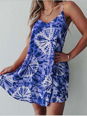 cheap Summer Dresses-Women's Strap Dress Midi Dress - Sleeveless Print Tie Dye Summer Elegant 2020 Blue Purple Red Yellow Green S M L XL XXL / Cotton