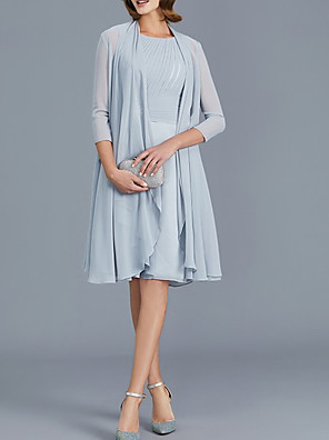 cheap Mother of the Bride Dresses-Two Piece Sheath / Column Mother of the Bride Dress Elegant Jewel Neck Knee Length Chiffon 3/4 Length Sleeve with Sash / Ribbon Ruching 2020