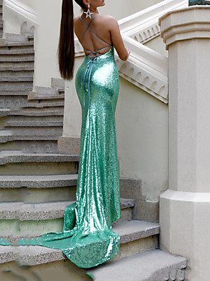 cheap Evening Dresses-Mermaid / Trumpet Beautiful Back Sparkle Wedding Guest Formal Evening Dress V Neck Sleeveless Court Train Sequined with Sequin 2020
