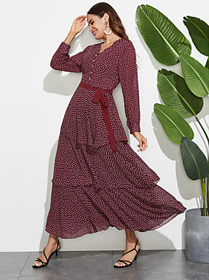 cheap Plus Size Dresses-Women's Sheath Dress - Long Sleeve Polka Dot Layered Ruffle Patchwork Summer Fall Elegant Boho Daily Going out 2020 Red M L XL XXL