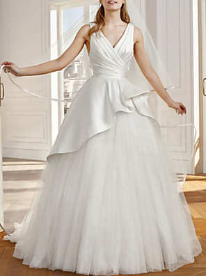 cheap Prom Dresses-A-Line Wedding Dresses V Neck Sweep / Brush Train Satin Tulle Sleeveless Vintage Sexy Wedding Dress in Color Backless with Bow(s) Pleats Ruffles 2020