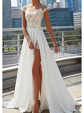 cheap Evening Dresses-A-Line Wedding Dresses Off Shoulder Sweep / Brush Train Lace Tulle Cap Sleeve Beach Sexy See-Through with Split Front 2020