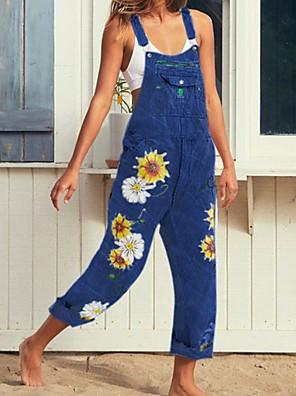 cheap Summer Dresses-Summer Floral Print Denim Overalls