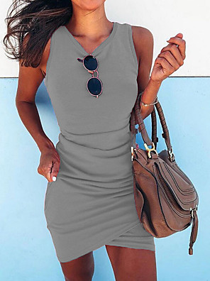 cheap Mini Dresses-Women's Bodycon Dress - Sleeveless Solid Colored Spring & Summer V Neck Street chic Going out Slim 2020 Black Blue Fuchsia Green Gray S M L XL XXL