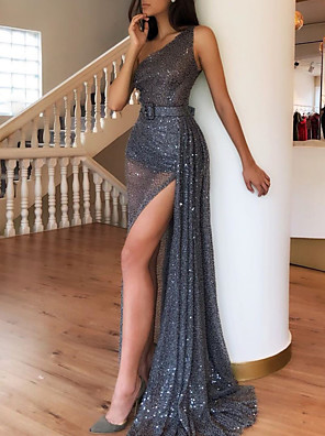 cheap Prom Dresses-Sheath / Column Sparkle Grey Party Wear Formal Evening Dress One Shoulder Sleeveless Sweep / Brush Train Sequined with Sequin Split 2020