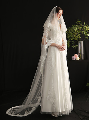 cheap Wedding Veils-Two-tier Sweet Wedding Veil Cathedral Veils with Faux Pearl / Solid Lace / Tulle