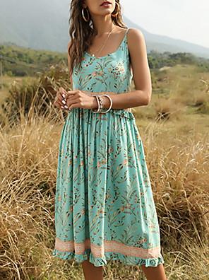 Χαμηλού Κόστους Για νεαρές γυναίκες-Γυναικεία Φόρεμα ριχτό από τη μέση και κάτω Φόρεμα μέχρι το γόνατο - Αμάνικο Γεωμετρικό Καλοκαίρι Τιράντες Κομψό & Μοντέρνο 2020 Πράσινο του τριφυλλιού Μπεζ Τ M L XL