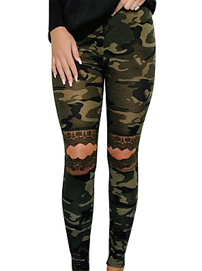 cheap Women's Pants-Women's Basic Daily Slim Chinos Pants - Print Cut Out High Waist Army Green S / M / L