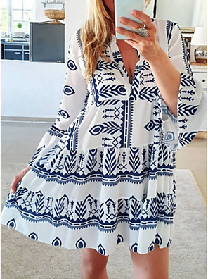 cheap Casual Dresses-Women's A Line Dress - Long Sleeve Geometric Summer V Neck Casual 2020 Yellow Blushing Pink Light Green Light Blue S M L XL XXL XXXL