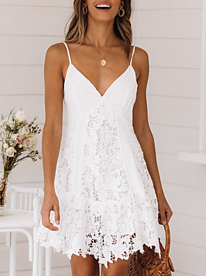 cheap Romantic Lace Dresses-Women's Mini Lace Dress - Sleeveless Solid Color Summer V Neck Elegant Sexy 2020 White S M L XL
