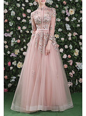 cheap Evening Dresses-A-Line Cut Out Floral Prom Formal Evening Dress High Neck Long Sleeve Floor Length Organza with Embroidery 2020