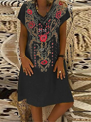 cheap Romantic Lace Dresses-Women's A Line Dress - Short Sleeves Floral Patchwork Summer V Neck Casual Vintage Daily Belt Not Included Oversized 2020 Black Yellow Fuchsia Orange Green S M L XL XXL XXXL