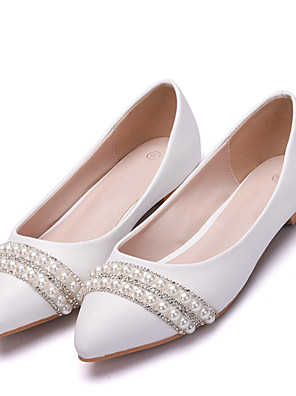 cheap Mini Dresses-Women's Flats Fall & Winter Block Heel Pointed Toe Wedding Party & Evening Rhinestone / Imitation Pearl / Sparkling Glitter Solid Colored PU White