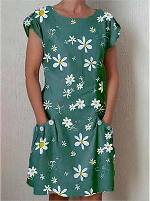 cheap Summer Dresses-Women's Shift Dress Knee Length Dress - Short Sleeves Floral Summer Elegant 2020 Blue Green Gray Light Blue S M L XL XXL XXXL